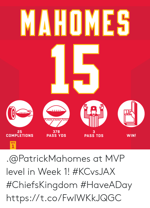 Memes, 🤖, and Mvp: MAHOMES  15  25  COMPLETIONS  378  PASS YDS  3  PASS TDS  WIN!  WK  1 .@PatrickMahomes at MVP level in Week 1! #KCvsJAX #ChiefsKingdom #HaveADay https://t.co/FwIWKkJQGC