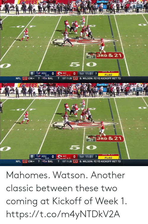 classic: Mahomes. Watson.  Another classic between these two coming at Kickoff of Week 1. https://t.co/m4yNTDkV2A