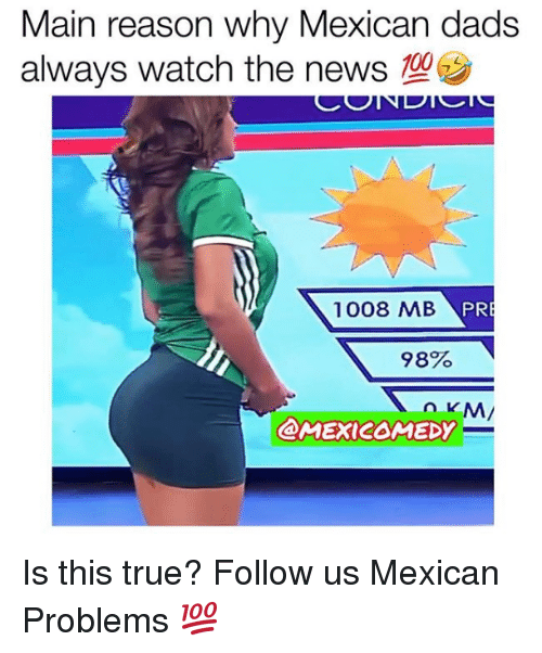 Mexican Problems: Main reason why Mexican dads  always watch the news  1008 MB  PR  98%  @MEXICOMEDY Is this true?  Follow us Mexican Problems 💯
