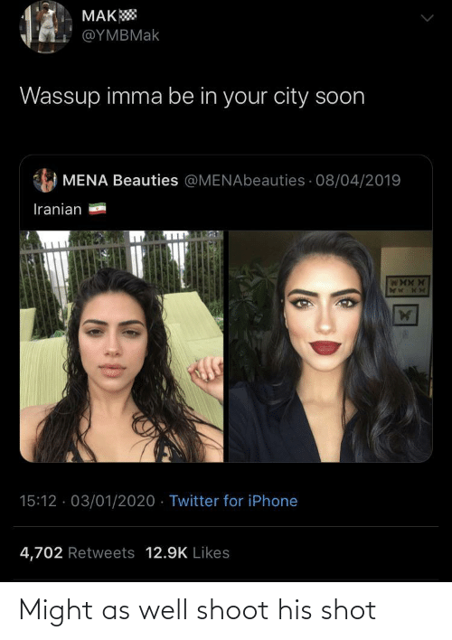 might as well: MAK  @ΥΜΒΜak  Wassup imma be in your city soon  MENA Beauties @MENAbeauties · 08/04/2019  Iranian  15:12 · 03/01/2020 · Twitter for iPhone  4,702 Retweets 12.9K Likes Might as well shoot his shot