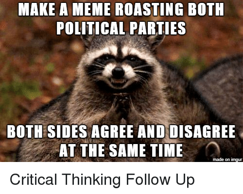 Critical Thinking: MAKE A MEME ROASTING BOTH  POLITICAL PARTIES  BOTH SIDES AGREE ANDDISAGREE  AT THE SAME TIME  made on imgur Critical Thinking Follow Up