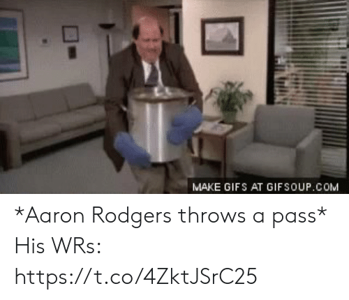 Aaron Rodgers, Football, and Nfl: MAKE GIFS AT GIFSOUP.COM *Aaron Rodgers throws a pass*  His WRs: https://t.co/4ZktJSrC25