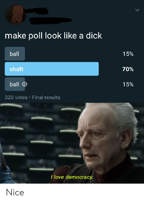 shaft: make poll look like a dick  ball  15%  shaft  70%  ball  15%  320 votes Final results  .  I love democracy Nice