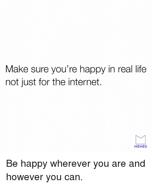 internet memes: Make sure you're happy in real life  not just for the internet.  MEMES Be happy wherever you are and however you can.