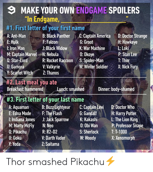 "Doctor Who: MAKE YOUR OWN ENDGAME SPOILERS  ""In Endgame,  #1. First letter of your first name  A: Ant-Man :Black Panther C: Captain America D: Doctor Strange  E: Hulk  l:lron Man  M: Captain Marvel N: Nebula  Q: Star-LordR: Rocket Raccoon S. Spider-Ma T: Thor  U: Gamora  Y: Scartet Witch Z: Thanos  H: Hawkeye  P: Stan Lee  Winte SoldierX: Nick Fury  F: Falcon  J: Black Widow  G: Groot  War MachineLoki  0: Okoye  V: Valkyrie  9GAG  #2. Last meal you ate  Breakfast: hammere  Breakfast hammered Lunch: smashd Dinner body-shamed  Dinner: body-shamed  #3. First letter of your last name  A: AquamaB: Buzz Lightyear C: Captain Levi D: Doctor Who  E: Edna ModeF: The Flash G:Gandalf H: Harry Potter  l: Indiana Jones J: Jack Spro K: KakashiL: The Lion King  M:Marty McFly N: Neo  Q: Pikachu  U: Goku  Y: Yoda  0: Obi Wan  S: Sherlock  P: Professor Sna  T: T-1000  R: R2-D2  V: Darth VaderW: WoodyX: Xenomorph  Z: Saitama Thor smashed Pikachu⚡️"