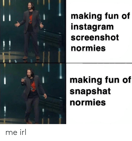 Instagram, Irl, and Me IRL: making fun of  instagram  screenshot  normies  making fun of  snapshat  normies me irl