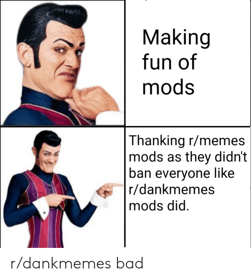 thanking: Making  fun of  mods  Thanking r/memes  mods as they didn't  ban everyone like  r/dankmemes  mods did r/dankmemes bad