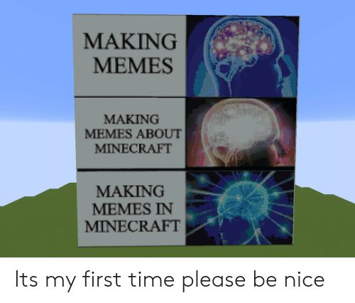 My First Time: MAKING  MEMES  MAKING  MEMES ABOUT  MINECRAFT  MAKING  MEMES IN  MINECRAFT Its my first time please be nice