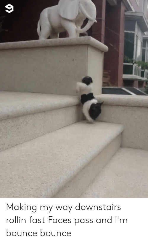 bounce: Making my way downstairs rollin fast  Faces pass and I'm bounce bounce