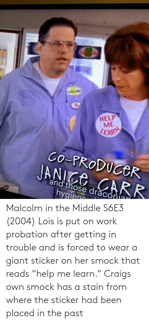 """malcolm: Malcolm in the Middle S6E3 (2004) Lois is put on work probation after getting in trouble and is forced to wear a giant sticker on her smock that reads """"help me learn."""" Craigs own smock has a stain from where the sticker had been placed in the past"""