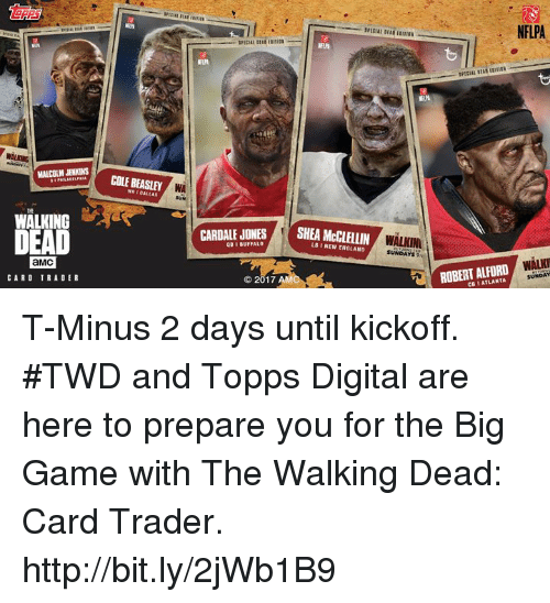 malcolm jenkins: MALCOLM JENKINS  WALKING  I  aMC  CARD TRADER  COLE BEASLEY  WA  CARDALE JONES  QB BUFFALO  2017  SHEA LB l NEW ENGLAND  WALKINI  SUNDAYS  NFLPA  WALNI  ROBERT ALFORD  SUNDAY T-Minus 2 days until kickoff. #TWD and Topps Digital are here to prepare you for the Big Game with The Walking Dead: Card Trader. http://bit.ly/2jWb1B9