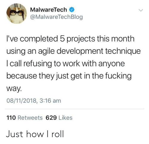 Ives: MalwareTech  @MalwareTechBlog  I've completed 5 projects this month  using an agile development technique  I call refusing to work with anyone  because they just get in the fucking  way.  08/11/2018, 3:16 am  110 Retweets 629 Likes Just how I roll
