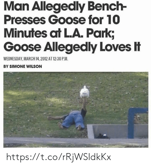 Memes, Wednesday, and March 14: Man Allegedly Bench-  Presses Goose for 10  Minutes at LA. Park;  Goose Allegedly Loves忄  WEDNESDAY,MARCH 14,2012 AT 12:30 P.M.  BY SIMONE WILSON https://t.co/rRjWSIdkKx