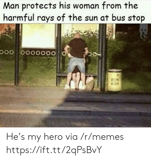 Memes, My Hero, and Hero: Man protects his woman from the  harmful rays of the sun at bus stop He's my hero via /r/memes https://ift.tt/2qPsBvY