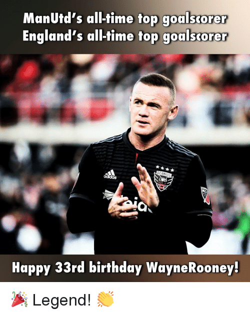 Birthday, Memes, and Happy: ManUtd's all-time top goalscorer  England's all-time top goalscorer  Happy 33rd birthday WayneRooney 🎉 Legend! 👏