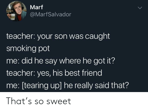 tearing: Marf  @MarfSalvador  teacher: your son was caught  smoking pot  me: did he say where he got it?  teacher: yes, his best friend  me: [tearing up] he really said that? That's so sweet