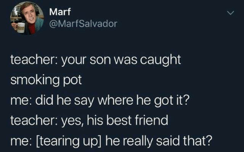 tearing: Marf  @MarfSalvador  teacher: your son was caught  smoking pot  me: did he say where he got it?  teacher: yes, his best friend  me: [tearing up] he really said that?