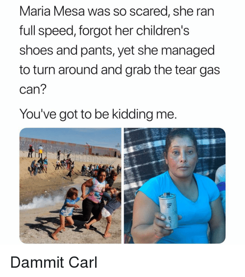 Youve Got To Be Kidding Me: Maria Mesa was So scared, she ran  full speed, forgot her childrens  shoes and pants, yet she managed  to turn around and grab the tear gas  can  You've got to be kidding me  CM Dammit Carl