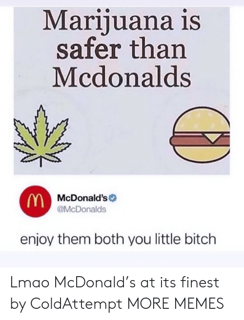 Bitch, Dank, and Lmao: Marijuana is  safer than  Mcdonalds  McDonald's  @McDonalds  enjoy them both you little bitch Lmao McDonald's at its finest by ColdAttempt MORE MEMES
