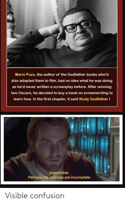 Buy: Mario Puzo, the author of the Godfather books who'd  also adapted them to film, had no idea what he was doing  as he'd never written a screenplay before. After winning  two Oscars, he decided to buy a book on screenwriting to  learn how. In the first chapter, it said Study Godfather I  Impossible.  Perhaps the archives are incomplete. Visible confusion