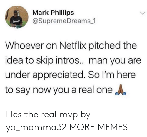 Dank, Memes, and Netflix: Mark Phillips  @SupremeDreams_1  Whoever on Netflix pitched the  idea to skip intros.. man you are  under appreciated. So I'm here  to say now you a real one Hes the real mvp by yo_mamma32 MORE MEMES