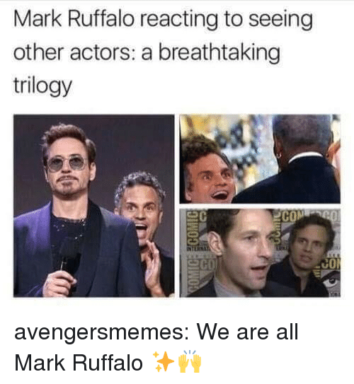 Mark Ruffalo: Mark Ruffalo reacting to seeing  other actors: a breathtaking  trilogy  C0 avengersmemes:  We are all Mark Ruffalo ✨🙌
