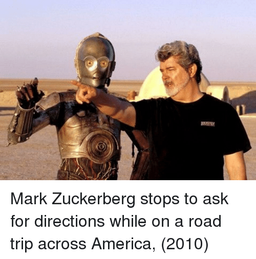 road trip: Mark Zuckerberg stops to ask for directions while on a road trip across America, (2010)