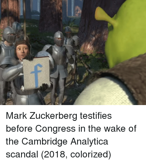 Scandal: Mark Zuckerberg testifies before Congress in the wake of the Cambridge Analytica scandal (2018, colorized)