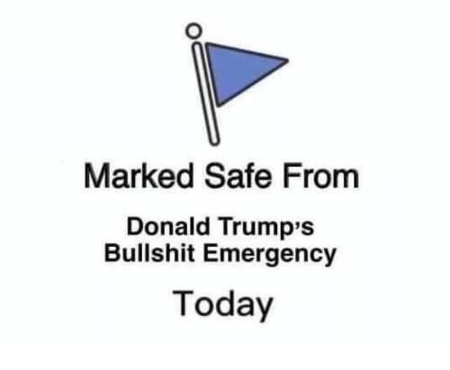 Today, Bullshit, and Emergency: Marked Safe From  Donald Trump's  Bullshit Emergency  Today