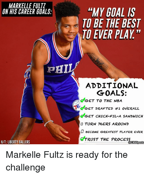 "Cbssports: MARKELLE FULTZ  ON HIS CAREER GOALS:  ""MY GOAL IS  TO BE THE BEST  TO EVER PLAY""  ADDITIONAL  GET TO THE NeA  GET CHICK-FIL-A SANDWICH  GOALS:  6deET DRAFTED #1 OVERALL  O TURN 76ERS AROUND  BECOME GREATEST PLAYER EVER  TRUST THE PROCESS  H/T: LIBERTY BALLERS  CBSSports Markelle Fultz is ready for the challenge"