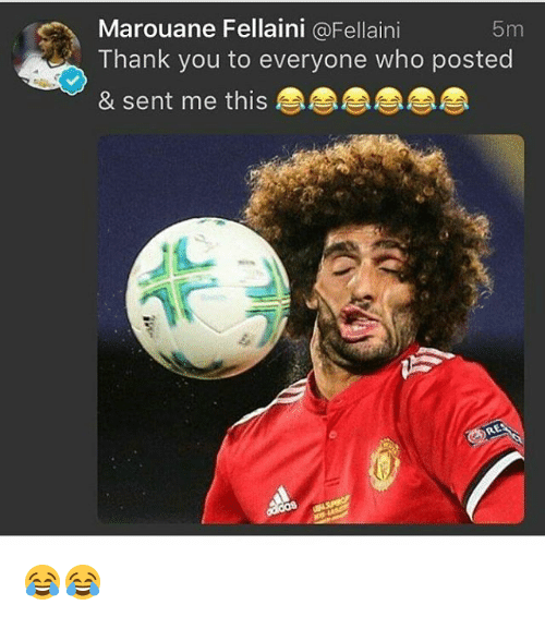 marouane fellaini: Marouane Fellaini @Fellaini  Thank you to everyone who posted  & sent me this  5m 😂😂