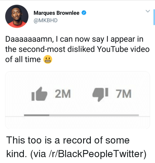 Daaaaaaamn: Marques Brownlee  @MKBHD  Daaaaaaamn, I can now say I appear in  the second-most disliked YouTube video  of all time  2M  7M This too is a record of some kind. (via /r/BlackPeopleTwitter)