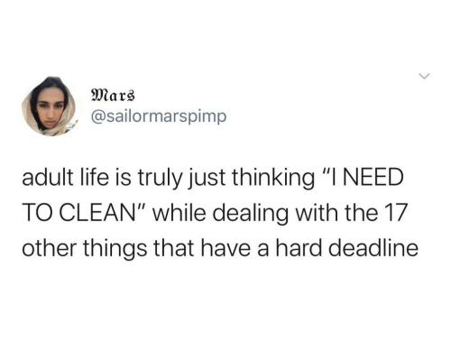"Things That: Mars  @sailormarspimp  adult life is truly just thinking ""I NEED  TO CLEAN"" while dealing with the 17  other things that have a hard deadline"