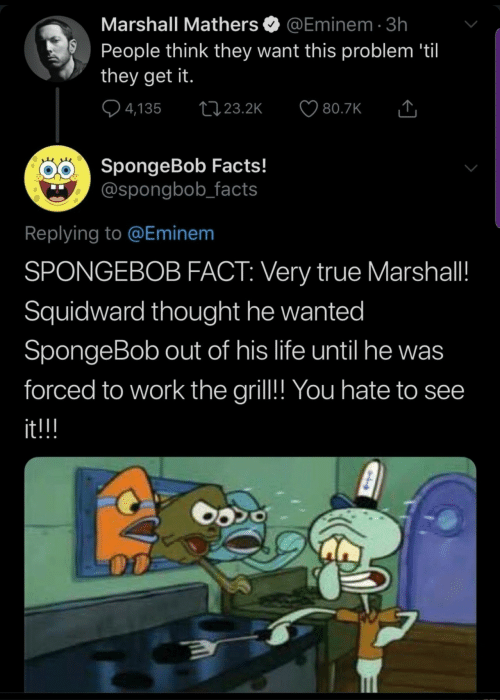 Eminem: Marshall Mathers  @Eminem 3h  People think they want this problem 'til  they get it.  4,135  t23.2K  80.7K  SpongeBob Facts!  @spongbob_facts  Replying to @Eminem  SPONGEBOB FACT: Very true Marshall!  Squidward thought he wanted  SpongeBob out of his life until he was  forced to work the gril!! You hate to see  it!!