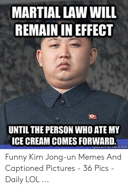 Kim Jong Un Memes: MARTIAL LAW WILL  REMAIN IN EFFECT  UNTIL THE PERSON WHO ATE MY  ICE CREAM COMES FORWARD, Funny Kim Jong-un Memes And Captioned Pictures - 36 Pics - Daily LOL ...