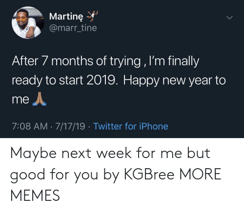 Dank, Good for You, and Iphone: Martine  @marr_tine  After 7 months of trying , I'm finally  ready to start 2019. Happy new year to  me  7:08 AM 7/17/19 Twitter for iPhone Maybe next week for me but good for you by KGBree MORE MEMES