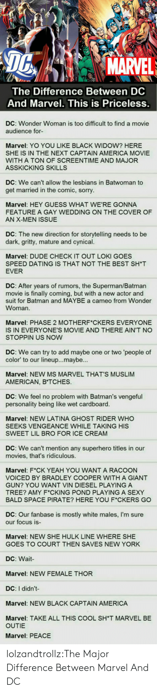 America, Batman, and Dating: MARVEL  The Difference Between DC  And Marvel. This is Priceless.  DC: Wonder Woman is too difficult to find a movie  audience for-  Marvel: YO YOU LIKE BLACK WIDOW? HERE  SHE IS IN THE NEXT CAPTAIN AMERICA MOVIE  WITH A TON OF SCREENTIME AND MAJOR  ASSKICKING SKILLS  DC: We can't allow the lesbians in Batwoman to  get married in the comic, sorry  Marvel: HEY GUESS WHAT WE'RE GONNA  FEATURE A GAY WEDDING ON THE COVER OF  AN X-MEN ISSUE  DC: The new direction for storytelling needs to be  dark, gritty, mature and cynical.  Marvel: DUDE CHECK IT OUT LOKI GOES  SPEED DATING IS THAT NOT THE BEST SH*T  EVER  DC: After years of rumors, the Superman/Batman  m  suit for Batman and MAYBE a cameo from Wonder  Woman.  is finally coming, but with a new a  and  Marvel: PHASE 2 MOTHERF CKERS EVERYONE  IS IN EVERYONE'S MOVIE AND THERE AIN'T NO  STOPPIN US NOW  DC: We can try to add maybe one or two 'people of  color' to our lineup...maybe...  Marvel: NEW MS MARVEL THAT'S MUSLIM  AMERICAN, B TCHES.  DC: We feel no problem with Batman's vengeful  personality being like wet cardboard.  Marvel: NEW LATINA GHOST RIDER WHO  SEEKS VENGEANCE WHILE TAKING HIS  SWEET LIL BRO FOR ICE CREAM  DC: We can't mention any superhero titles in our  movies, that's ridiculous.  Marvel: F*CK YEAH YOU WANT A RACOON  VOICED BY BRADLEY COOPER WITH A GIANT  GUN? YOU WANT VIN DIESEL PLAYING A  TREE? AMY F*CKING POND PLAYING A SEXY  BALD SPACE PIRATE? HERE YOU F*CKERS GO  DC: Our fanbase is mostly white males, l'm sure  our focus is-  Marvel: NEW SHE HULK LINE WHERE SHE  GOES TO COURT THEN SAVES NEW YORK  DC:Wait-  Marvel: NEW FEMALE THOR  DC: I didn't-  Marvel: NEW BLACK CAPTAIN AMERICA  Marvel: TAKE ALL THIS COOL SH*T MARVEL BE  OUTIE  Marvel: PEACE lolzandtrollz:The Major Difference Between Marvel And DC