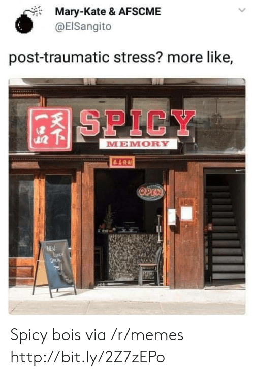 Memes, Http, and Spicy: Mary-Kate & AFSCME  @EISangito  post-traumatic stress? more like,  SPICY  MEMORY  OPEN  NEW  S  75 Spicy bois via /r/memes http://bit.ly/2Z7zEPo