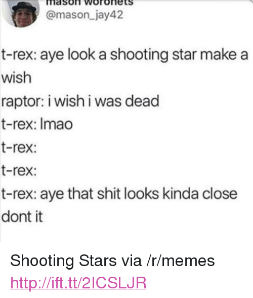 "Memes, Shit, and Http: mason Woronets  @mason_jay42  t-rex: aye look a shooting star make a  wish  raptor: i wish i was dead  t-rex: Imao  t-rex:  t-rex:  t-rex: aye that shit looks kinda close  dont it <p>Shooting Stars via /r/memes <a href=""http://ift.tt/2ICSLJR"">http://ift.tt/2ICSLJR</a></p>"