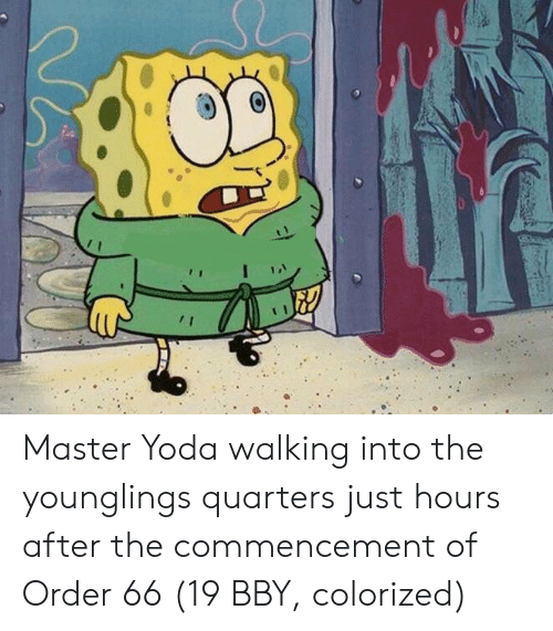 younglings: Master Yoda walking into the younglings quarters just hours after the commencement of Order 66 (19 BBY, colorized)