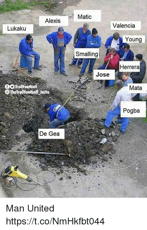 Memes, United, and 🤖: Matic  Alexis  Valencia  Lukaku  Young  Smalling  Herrera  Jose  Mata  The roiFootbali lnsta  Pogba  De Gea Man United https://t.co/NmHkfbt044