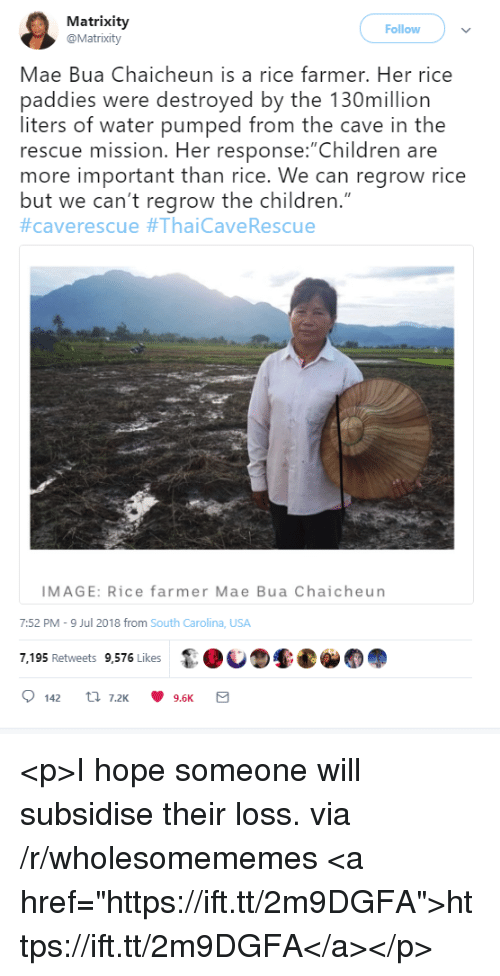 """Children, Image, and Water: Matrixity  @Matrixity  Follow  Mae Bua Chaicheun is a rice farmer. Her rice  paddies were destroyed by the 130million  liters of water pumped from the cave in the  rescue mission. Her response: Children are  more important than rice. We can regrow rice  but we can't regrow the children.""""  #caverescue #ThaiCaveRescue  IMAGE: Rice farmer Mae Bua Chaicheun  7:52 PM-9 Jul 2018 from South Carolina, USA  7,195 Retweets 9,576 Likes <p>I hope someone will subsidise their loss. via /r/wholesomememes <a href=""""https://ift.tt/2m9DGFA"""">https://ift.tt/2m9DGFA</a></p>"""