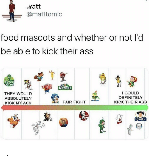 mascots: Matt  @matttomic  food mascots and whether or not l'd  be able to kick their ass  Green  Gian  BOYARDEE  I COULD  THEY WOULD  DEFINITELY  ABSOLUTELY  FAIR FIGHT  KICK THEIR ASS  KICK MY ASS  KFC  QUAKER .