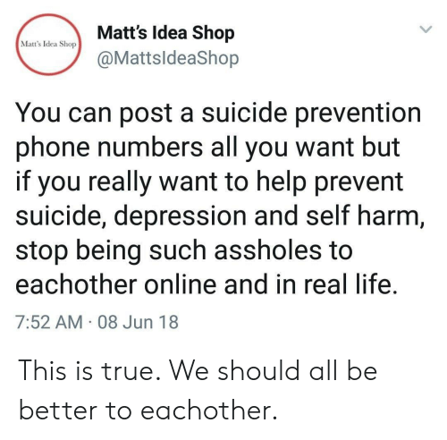 self harm: Matt's Idea Shop  @MattsldeaShop  Matt's Idea Shop  You can post a suicide prevention  phone numbers all you want but  if you really want to help prevent  suicide, depression and self harm  stop being such assholes to  eachother online and in real life  7:52 AM 08 Jun 18 This is true. We should all be better to eachother.