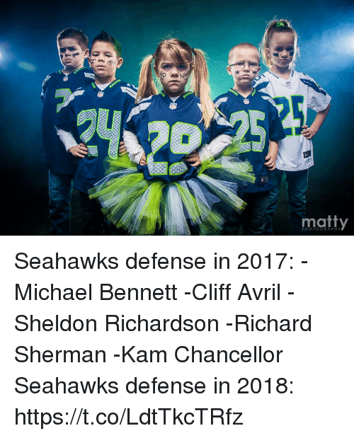 matty: matty  PHOTOGRAPHY Seahawks defense in 2017: -Michael Bennett -Cliff Avril  -Sheldon Richardson -Richard Sherman -Kam Chancellor  Seahawks defense in 2018: https://t.co/LdtTkcTRfz
