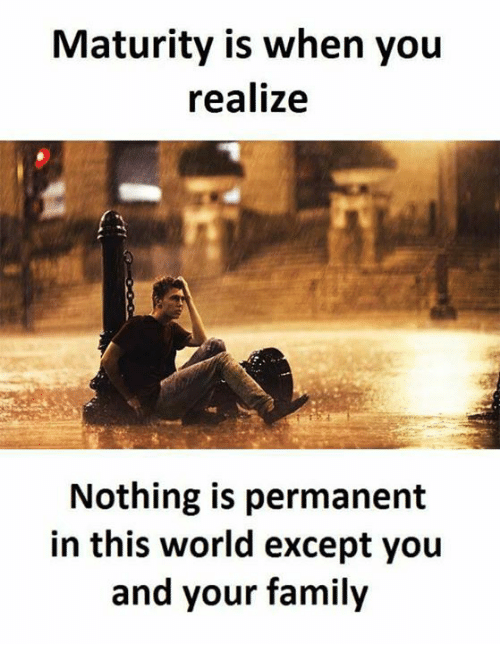 Maturity Is When You Realize Nothing Is Permanent In This World Except You And Your Family Meme On Esmemes Com