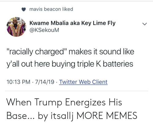 "Dank, Memes, and Target: mavis beacon liked  Kwame Mbalia aka Key Lime Fly  @KSekouM  ""racially charged"" makes it sound like  y'all out here buying triple K batteries  10:13 PM 7/14/19 Twitter Web Client When Trump Energizes His Base… by itsallj MORE MEMES"