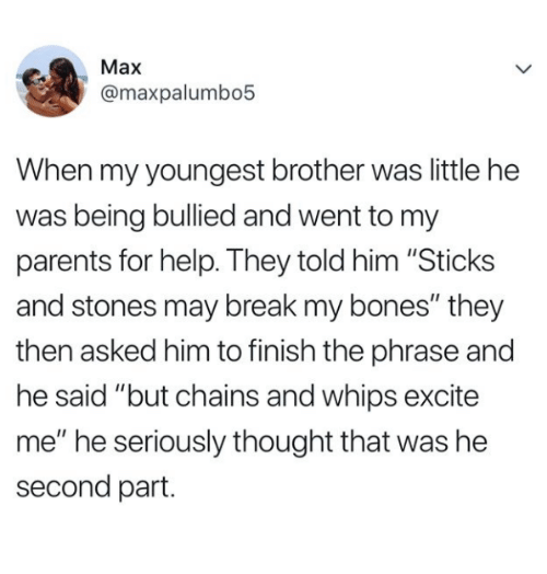 """Sticks And Stones: Max  @maxpalumbo5  When my youngest brother was little he  was being bullied and went to my  parents for help. They told him """"Sticks  and stones may break my bones"""" they  then asked him to finish the phrase and  he said """"but chains and whips excite  me"""" he seriously thought that was he  second part."""