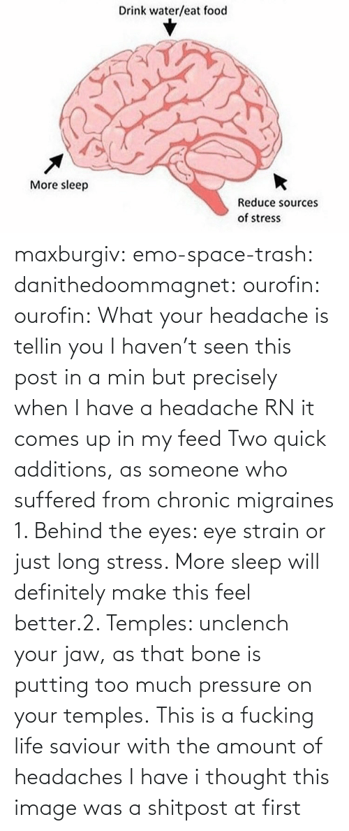 eye: maxburgiv:  emo-space-trash:  danithedoommagnet:  ourofin:  ourofin:  What your headache is tellin you  I haven't seen this post in a min but precisely when I have a headache RN it comes up in my feed   Two quick additions, as someone who suffered from chronic migraines 1. Behind the eyes: eye strain or just long stress. More sleep will definitely make this feel better.2. Temples: unclench your jaw, as that bone is putting too much pressure on your temples.   This is a fucking life saviour with the amount of headaches I have   i thought this image was a shitpost at first