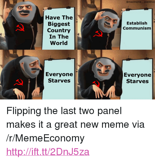 "Meme, Http, and World: @maximeme overdrive  Have The  Biggest  Country  In The  World  Establish  Communism  Everyone  Starves  Everyone  Starves <p>Flipping the last two panel makes it a great new meme via /r/MemeEconomy <a href=""http://ift.tt/2DnJ5za"">http://ift.tt/2DnJ5za</a></p>"